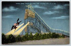 Atlantic City New Jersey~Diving Horse~Ocean End Steel Pier @ Night~1940s