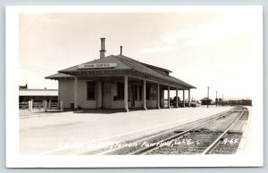 Suisun-Fairfield California~Railroad Depot~SPRR Train Cars~1940s Truck~RPPC