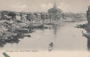 Shrinager From Zeina Kadal Kashmir Rowing Boat Indian Postcard