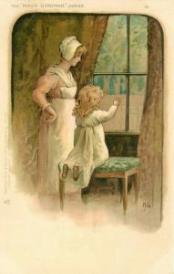 Maud Goodman Series Tucks #824 Postcard. Mother & Daughter Looking Out Of Window