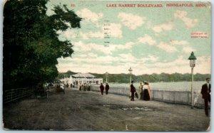 Minneapolis Minnesota Postcard LAKE HARRIET BOULEVARD People Scene 1908 Cancel