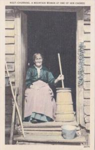 Churning A Mountain Woman At One Of Her Chores