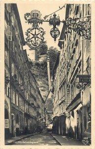 Austria Salzburg Getreidegasse main shopping street view Postcard