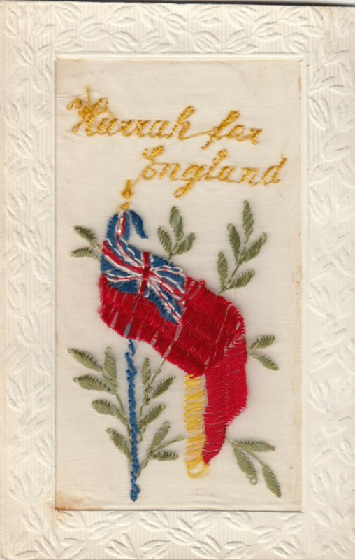 EMBROIDERED, 1900-10s; Hurrah for England , Flag