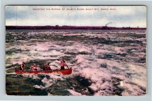 Sault St. Marie MI-Michigan, Canoeing, Rapids, St Mary's River, Vintage Postcard