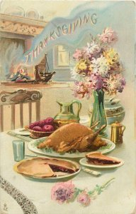Thanksgiving day dinner table ethnic type traditional food Postcard
