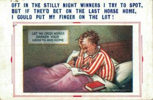 Oft In The Stilly Night Winners I Try To Spot Vintage Comic Postcard 06.32