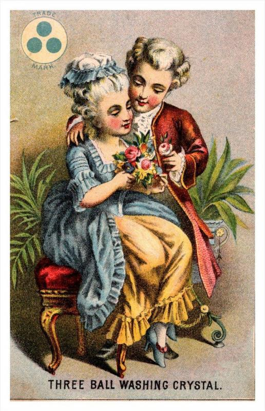 13478   Trade card  NY Three ball Washing Crystal, Victorian Lovers