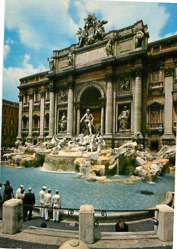 Old Vintage Postcards Treva Fountain Rome #1506A