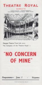 No Concern Of Mine Jeremy Kingston Rare Theatre Royal Margate Kent Programme