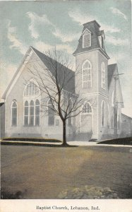 F73/ Lebanon Indiana Postcard c1910 Baptist Church Building
