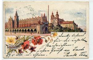 Sukiennice Skatka Cracow Kraków Poland 1898 postcard