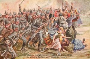 Barbarian army helmets march women & children push first battlefield WW I artist