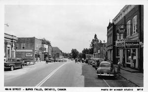 Burks Falls Ont. Main Street Storefronts Post Office, real photo postcard