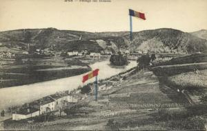 spain, IRUN, Paisage del Bidason, Spanish & French Textile Flags (1910s)