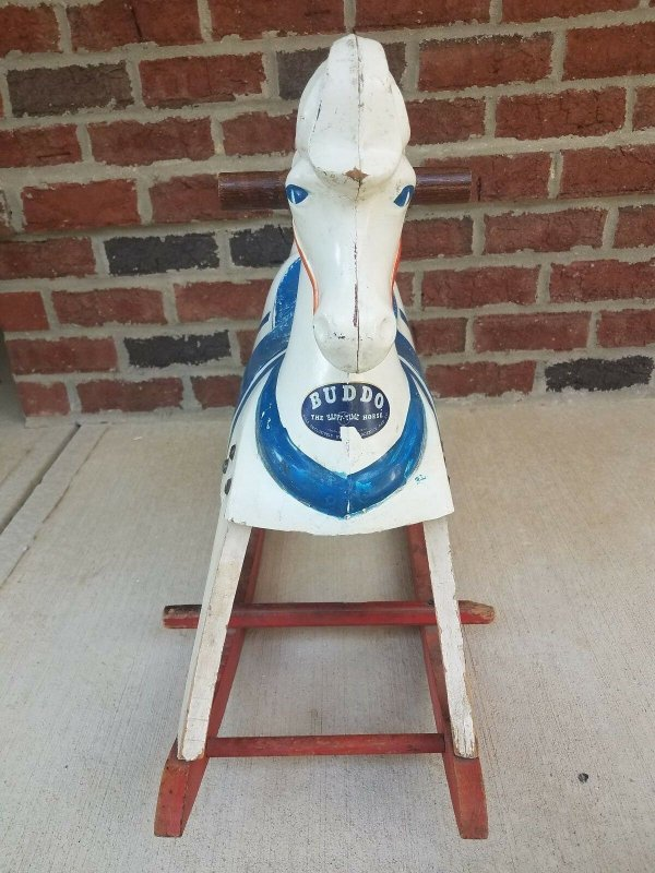 1940's Childs Buddo Happi-Time Rocking Toy White Horse Sears Roebuck Display
