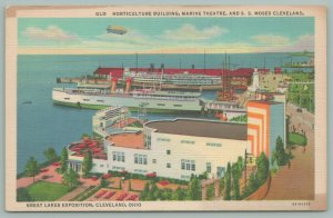 Cleveland Ohio~Great Lakes Exposition~Horticulture Bldg~Marine Theatre~SS Moses