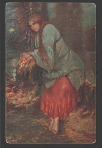 115869 Verlassen WITCH in Forest By KOMINECK vintage color PC