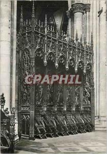 Modern Postcard Metz 10345 c stall cathedral (head of work of carving on wood)