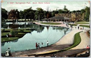 1909 South Bend IN Postcard SPRINGBROOK PARK Playland Amusement Coaster View