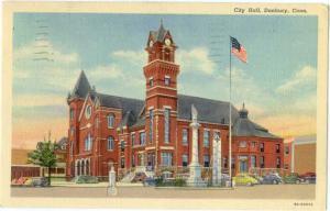 Linen of City Hall Danbury Connecticut CT 1940