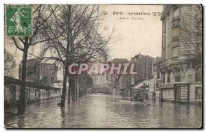 Crue of the Seine Paris Old Postcard Floods Auteuil Rue Gros