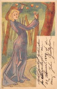 C92/ Artist Signed Postcard c1910 E.I Woman Picking Fruit Art Nouveau 6