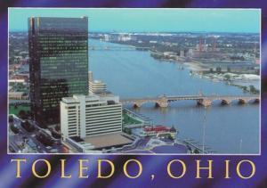 Ohio Toledo Aerial View Showing Drawbridges Over Maumee River