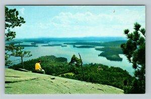 Rattlesnake Mt. NH- New Hampshire, Big Squam Lake, Aerial, Chrome Postcard