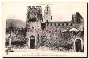 Old Postcard The High Pyrenees Luz Church Templar