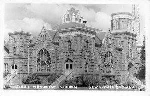 F54/ New Castle Indiana RPPC Postcard c1950s First Methodist Church