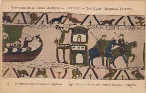 Bayeaux Queen Mathilda Tapestry He Crosses The Sea and Returns To England