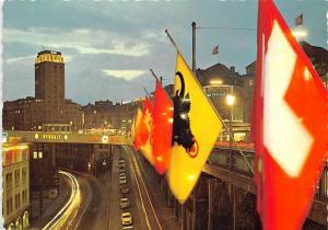 Switzerland Lausanne Le Grand Pont et la Tour Bel-Air de Nuit Voitures Renault