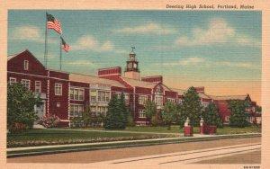 Portland, Maine, ME, Deering High School, 1946 Linen Vintage Postcard g2162