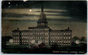 Lansing, Michigan Postcard State Capitol Building Night View w/ Moon 1912 Cancel
