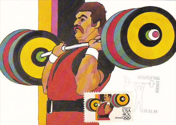 Weight Lifting Stamp 1984 Summer Olympics Los Angeles California