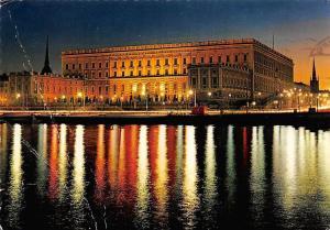Sweden Stockholm Slottet i fasadbelysning