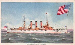 U.S. Battleship Virginia, Early Postcard, Unused, Prudential Insurance Company