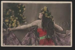 116993 BELLE Woman Lady w/ LONG HAIR vintage PHOTO tinted PC