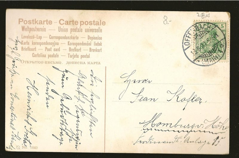 Germany Postmarked 1909 Offenbach Singers UPU Color Postcard