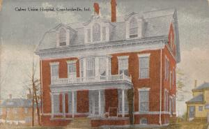 Crawfordsville Indiana~Culver Union Hospital~House Behind~No Tree~1908 Postcard