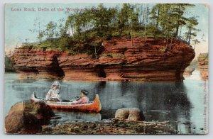 Wisconsin Dells WI~Ladies Canoe Past Lone Rock~c1910 Jenkins Drug Postcard