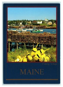 Postcard The Fishing Village of Corea on Maine's Northern Coast ME blue trim K13