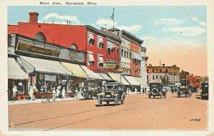 NORWOOD OHIO~MAIN AVENUE-5 & 10 CENT STOREFRONTS-1920s KRAEMER ART POSTCARD
