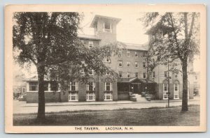 Laconia New Hampshire~The Tavern~Houses-Shops Behind~1927 B&W Postcard
