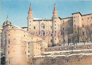 Modern Postcard Between Route Urbino Italy the Palace Towers