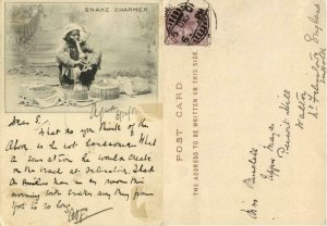 india, Native Snake Charmer at Work (1901) Court Card