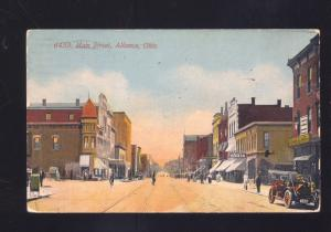 ALLIANCE OHIO DOWNTOWN MAIN STREET SCENE SCHLITZ BEER SIGN VINTAGE POSTCARD