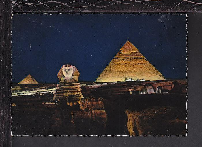 Giza Sphinx and Pyramids,Egypt Postcard BIN