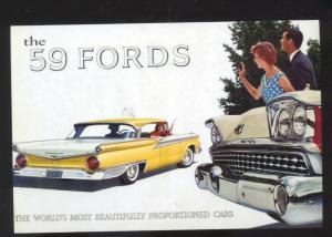 1959 FORD CAR DEALER ADVERTISING POSTCARD '59 FORDS AUTOMOBILE CARS